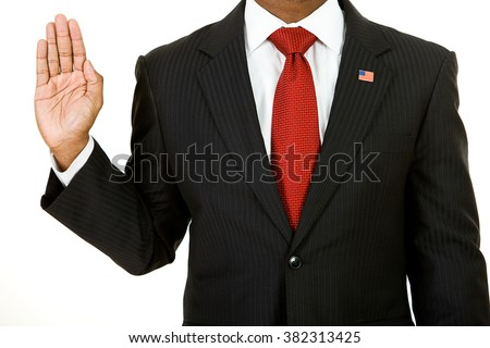 Politician: Anonymous Politician Gives Oath - stock photo