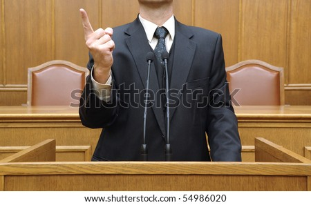 politician in parliament , freedom of speech concept, democracy concept - stock photo