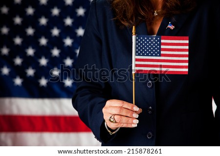 Politician: Patriotic Woman Holding American Flag