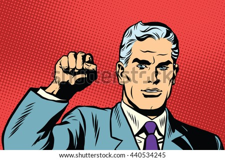 Politician protest solidarity gesture up fist activist pop art retro. They will not pass the gesture of the Communist international - stock photo