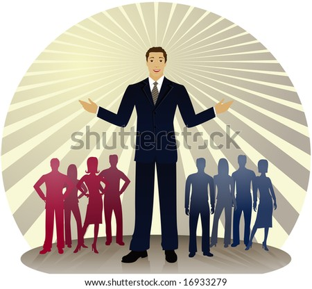 Politician standing out in front of silhouetted people divided into red and blue party colors... also could be a business man or sales person - stock photo
