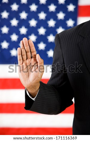 Politician: Taking An Oath  - stock photo