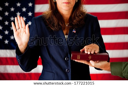 Politician: Taking an Oath of Political Office - stock photo