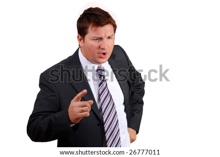 Politician that is angry at irresponsible bankers for causing the crises - stock photo