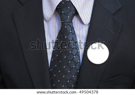 Politician with empty badges, Vote concept