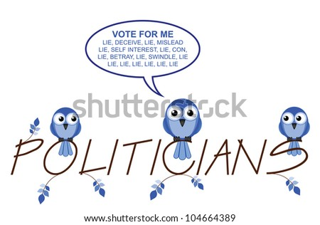 Politicians twig text isolated on white background