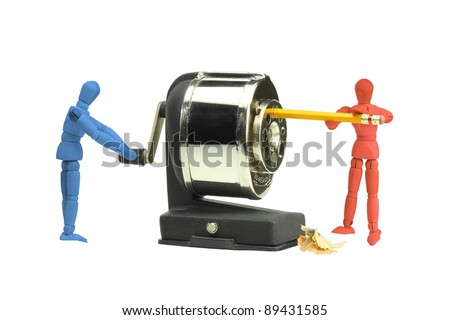 Politicians working together to balance the budget - stock photo