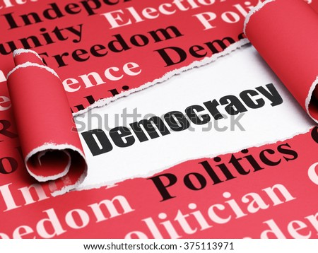 Politics concept: black text Democracy under the piece of  torn paper - stock photo
