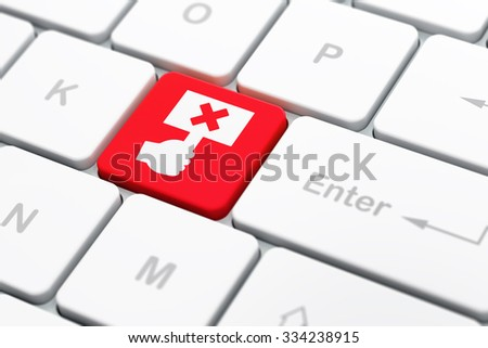 Politics concept: computer keyboard with Protest icon on enter button background, selected focus, 3d render - stock photo