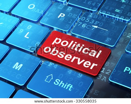 Politics concept: computer keyboard with word Political Observer on enter button background, 3d render - stock photo