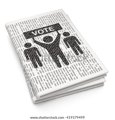 Politics concept: Pixelated black Election Campaign icon on Newspaper background, 3D rendering
