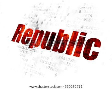 Politics concept: Pixelated red text Republic on Digital background