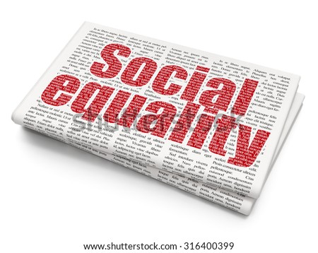 Politics concept: Pixelated red text Social Equality on Newspaper background - stock photo