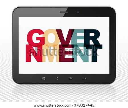 Politics concept: Tablet Pc Computer with Government on  display