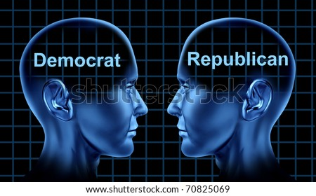 Politics Democrat party Republican confrontation different opinions philosophy lifestyle debate thoughts vote Patriotism Government USA - stock photo