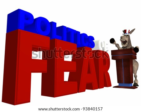 Politics of Fear - Political donkey standing behind a podium speaking.  Democrat. Political humor. - stock photo