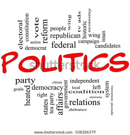 Politics Word Cloud Concept in Red Letters with great terms such as democracy, parties, democrats, republicans and more - stock photo