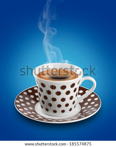 polka dot coffee cup on color background - stock photo
