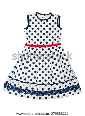 Polka dot dress for girl isolated on white background. - stock photo