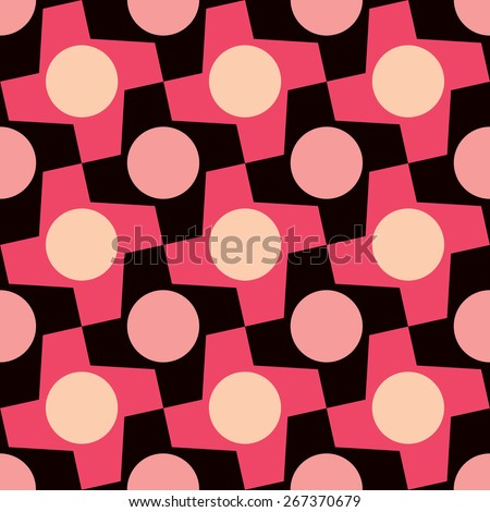 Polka dot houndstooth geometric pattern repeats seamlessly. - stock photo