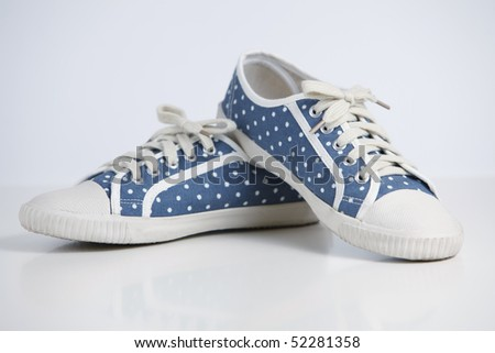 Polka dot shoe - stock photo