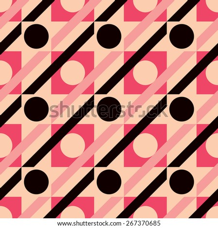 Polka dot stripes geometric pattern repeats seamlessly. - stock photo