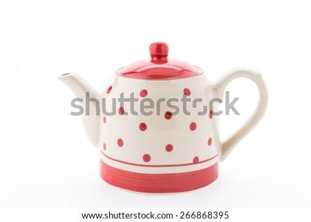 Polka dot tea pot isolated on white background - stock photo
