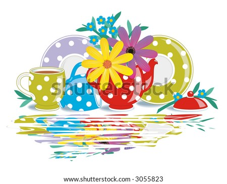Polka-dot teatime porcelain with flowers and wet surface reflection effect ( for vector EPS see image 3055876 )  - stock photo