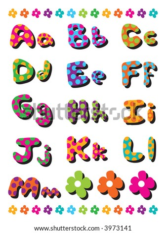 polka dots fun alphabets A to M (raster) - illustration for kids / part 1 of a full set - stock photo