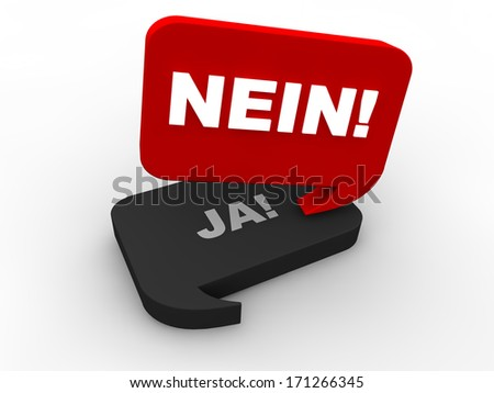 Poll Result - no (in german) - stock photo