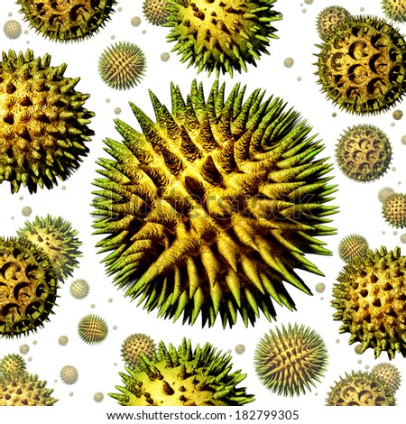 Pollen grains concept as a group of microscopic organic pollination particles of flowering plants flying in the air as a health care symbol of seasonal allergies and suffering from hay fever allergy. - stock photo