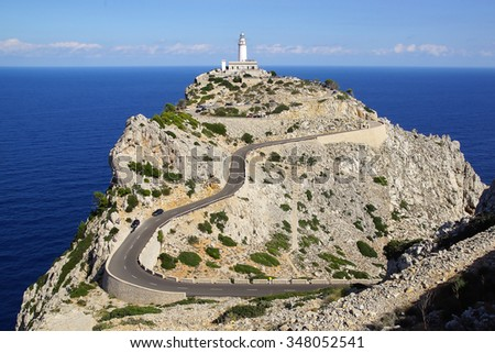 POLLENCA, BALEARIC ISLANDS, SPAIN - OCTOBER 16, 2015: Formentor Lighthouse. It is the highest lighthouse in the Balearic Islands with a focal height of 210 metres above sea level.            - stock photo