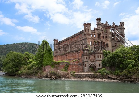 POLLEPEL ISLAND - MAY 30, 2015:  View of historic Bannerman's Castle as seen from the Hudson River in New York State.   - stock photo
