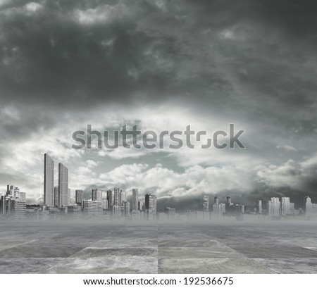 polluted city background - stock photo