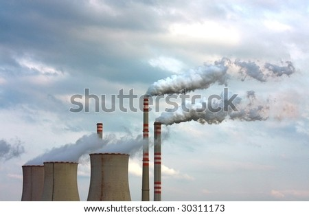 polluted smoke from factory - stock photo