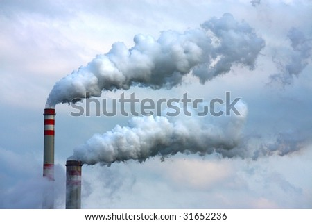polluted smoke from oil refinery - stock photo