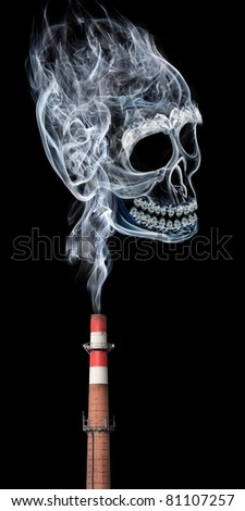 Polluting toxic smoke from a factory. - stock photo