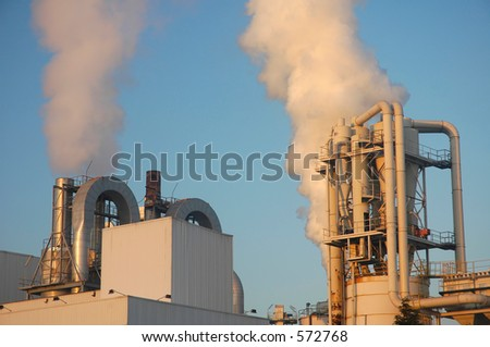 Pollution at Sunset - stock photo