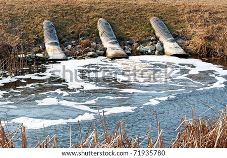Pollution at the canal - stock photo