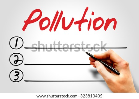 Pollution blank list, environmental concept - stock photo