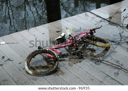 Pollution Concept.  I Bike That Was Fished out of a Canal.