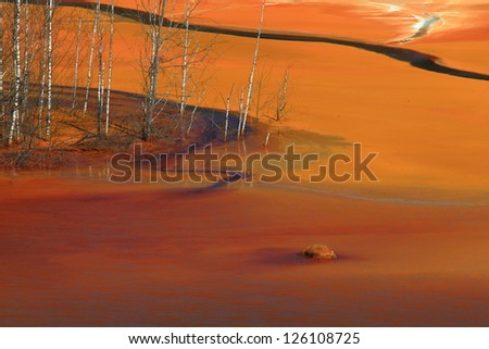Pollution effect of copper mining, lake Geamana, Romania - stock photo