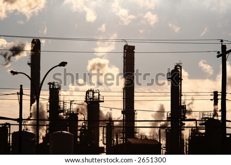 Pollution from a Gas Power Station - stock photo