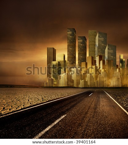 Pollution, global warming and the road to cityscape - stock photo
