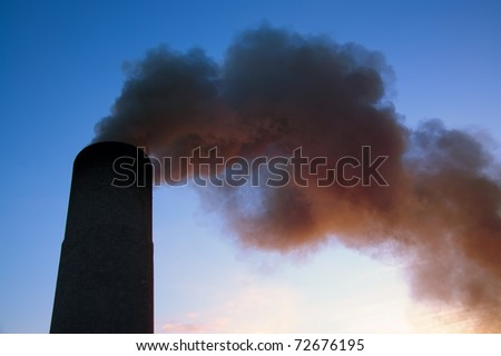 pollution in sky - stock photo