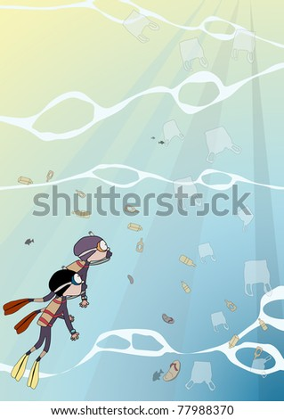 pollution in the sea and diver