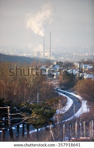 pollution landscape - stock photo