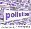 Pollution message with power station chimney and smoke. Environmental pollution conceptual design - stock