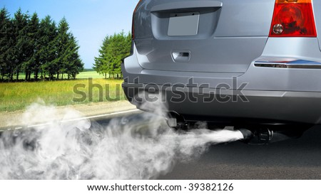 pollution of environment by combustible gas of a car - stock photo