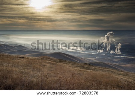 Pollution on the clearwater river from a large paper mill,  Lewiston Idaho. - stock photo